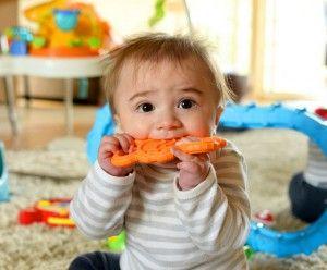 малыш грызет игрушку